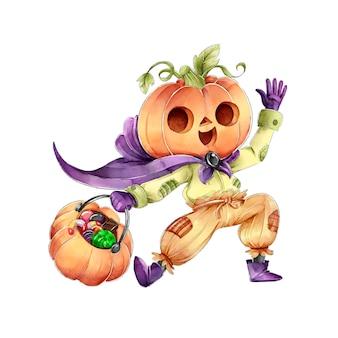 Pompoenhoofdtruc of behandel happy halloween