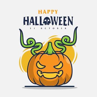 Pompoenkarakter met halloween-groetenpictogramillustratie