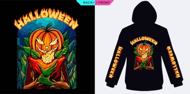 Pompoenmonster met vuur 's nachts, perfect voor halloween-merchandise en het bedrukken van kleding