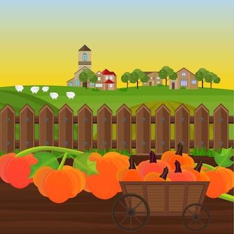 Pompoenoogst in een kar tuin vector. platteland achtergronden illustraties