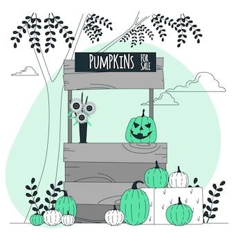 Pompoenstandaard voor halloween-conceptillustratie