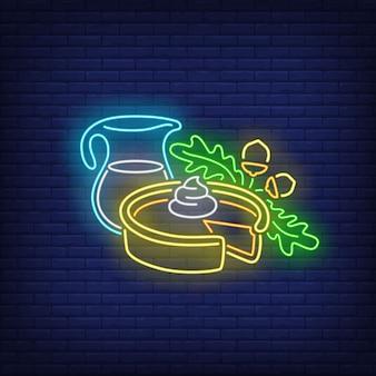 Pompoentaart en pot melk neon teken