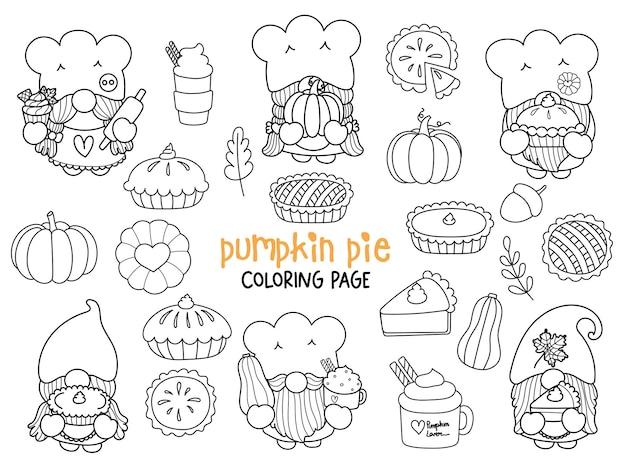 Pompoentaart gnomes doodle pumpkin pie gnome kleurplaat happy fall
