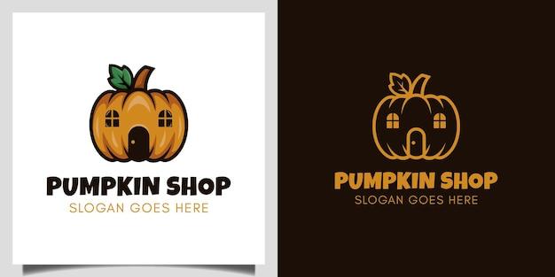 Pompoenwinkel vectorontwerp voor vegetarisch, halloween-marktevenement heeft daglogo-ontwerp nodig
