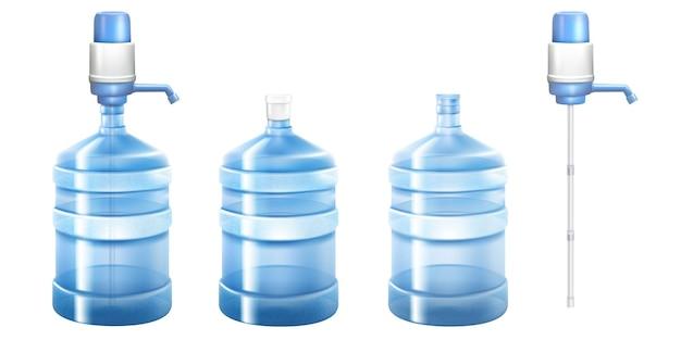 Pompwaterkoeler en grote fles voor op kantoor en thuis. vector 3d-realistische mockup van dispenser met pomp voor het gieten van schoon water en grote plastic gallon geïsoleerd op een witte achtergrond