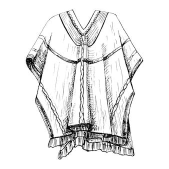 Poncho. vector vintage broedeieren zwart-wit afbeelding. geïsoleerd op een witte achtergrond.