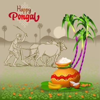 Pongal groeten met ploegende boerenpot suikerriet en traditionele dingen