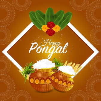 Pongal indiase festival viering wenskaart met modderpot