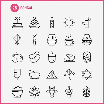 Pongal line icon pack