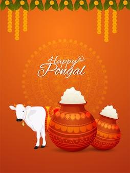 Pongal poster met creatieve modderpot en koe