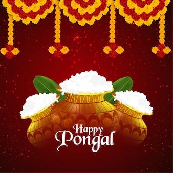 Pongal-viering creatieve merigoldbloem met modderpot