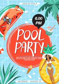 Pool partij uitnodiging poster