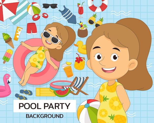 Pool party-concept. platte pictogrammen.