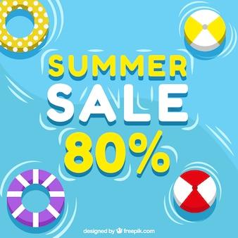 Pool zomer verkoop achtergrond met drijvers