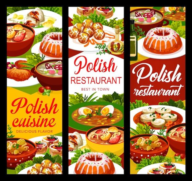 Poolse keukenvoedselbanners of menugerechten en maaltijden, vectorlunch en diner. poolse keuken witte borsjt en varkensschnitzel, warschau donuts en snoekbaars met kerstkarper en zureksoep