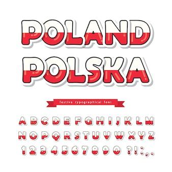 Poolse nationale vlag kleuren lettertype.