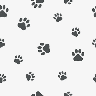 Poot naadloos patroon. achtergrond met voetafdruk van een dier - kat, hond, beer. vector illustratie.