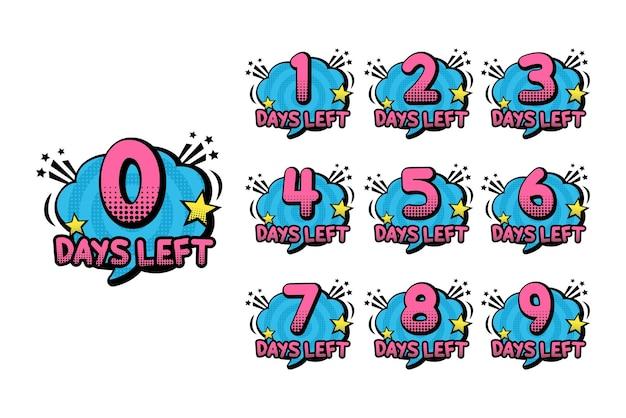 Pop-art aantal dagen resterende timer
