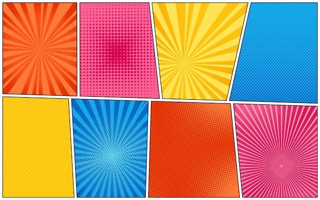 Pop-art achtergronden. komisch patroon met halftoon en starburst. cartoon retro sunburst texturen