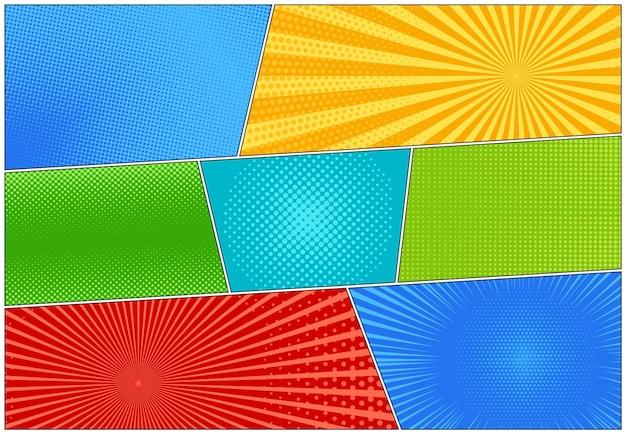Pop-art achtergronden. komische halftoonpatroon. stel cartoonbanners in. vector superheld starburst textuur