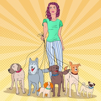 Pop art beautiful woman walking een roedel honden
