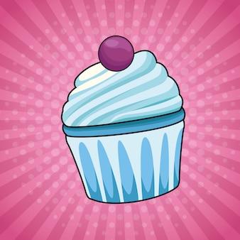 Pop-art cupcake cartoon