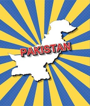 Pop art kaart van pakistan