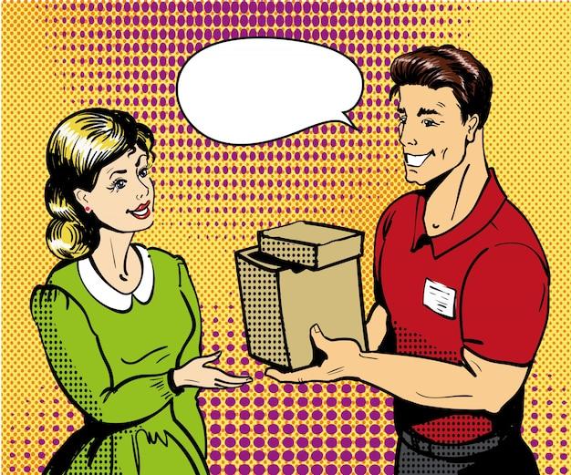 Pop-art levering illustratie. leveringsman die doos overhandigen aan vrouw.
