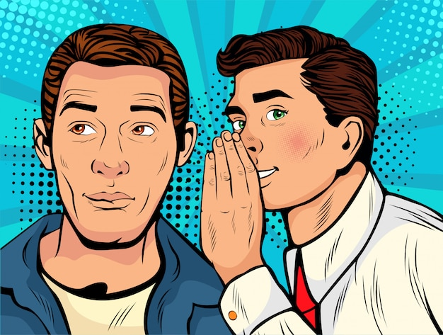 Pop-art man fluisteren roddel of geheim aan zijn vriend
