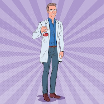Pop art man wetenschapper met kolf. mannelijke laboratoriumonderzoeker. chemie farmacologie concept.