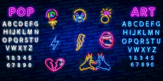 Pop-art neon pictogrammen instellen