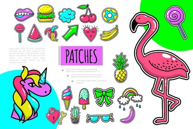 Pop-art patches samenstelling met flamingo eenhoorn fruit boog regenboog brillen sleutel hamburger kers donut mond lolly illustratie,