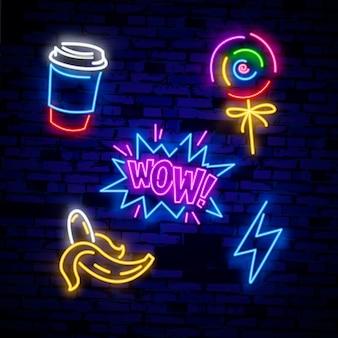 Pop-art pictogrammen instellen. pop art neon teken. helder bord, lichte banner.
