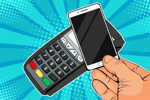 Pop-art pos-terminal, betaalautomaat met mobiele telefoon