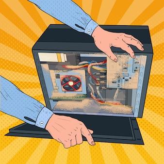 Pop art repair man stof in pc-systeemeenheid schoonmaken. mannelijke technicus onderhoud computer.