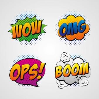Pop-art toespraken op bubbels tekenfilms
