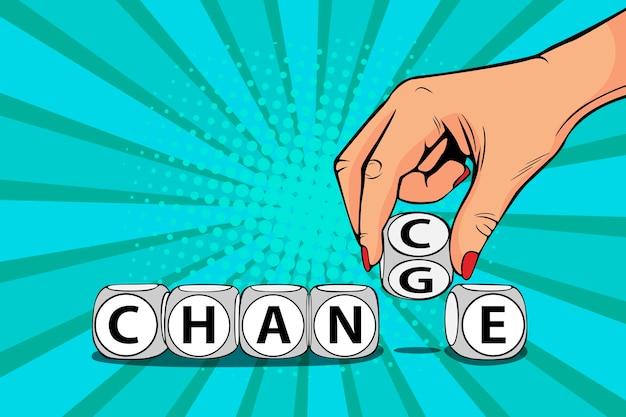 Pop-art zakenvrouw hand verandering woord op blokken naar het toeval