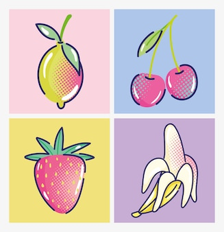 Pop-artbeeldverhaal, fruit, aardbeikersen, banaan en mango, komisch halftoonontwerp