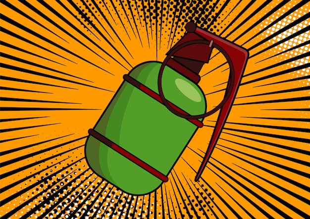 Pop-artbom op komische pop-art retro stijlachtergrond. terrorisme is een gevaar voor vernietiging. cartoon bom op achtergrond met halftoonpunten en zonnestraal.
