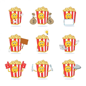 Pop corn cartoon mascotte tekenset collectie