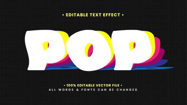 Pop gevouwen papier retro vintage 3d-tekststijleffect. bewerkbare illustrator tekststijl.