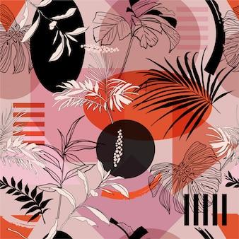 Pop-kleur van de zomer van geometrische vorm met tropisch bos