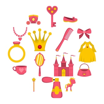 Pop prinses items pictogrammen instellen in vlakke stijl