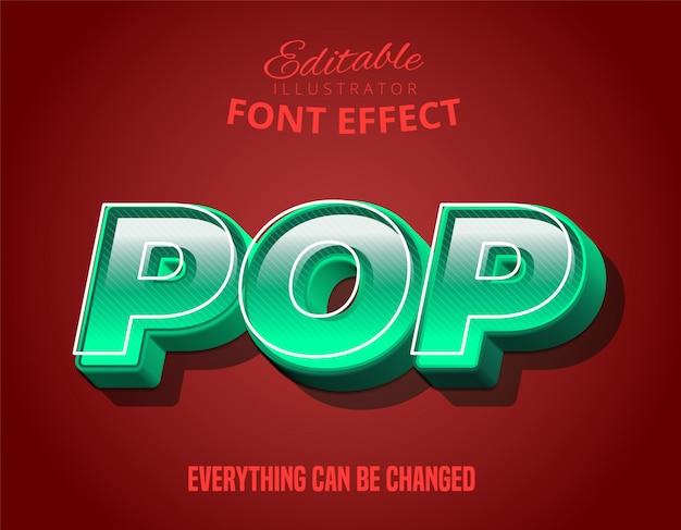 Pop-tekst, 3d-turquoise bewerkbaar lettertype-effect