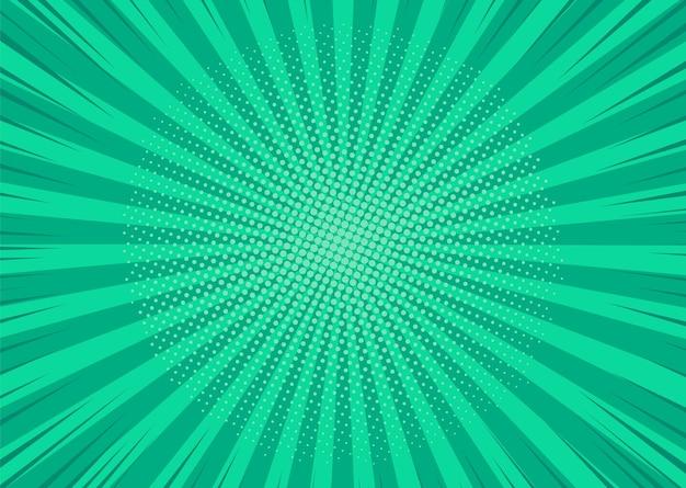 Popart achtergrond. cartoon textuur met halftoon en zonnestraal. vector illustratie.