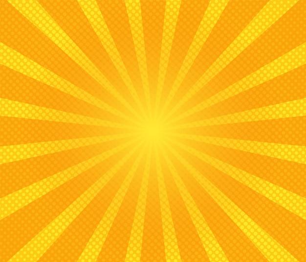 Popart achtergrond. cartoon textuur met halftoon en zonnestraal.