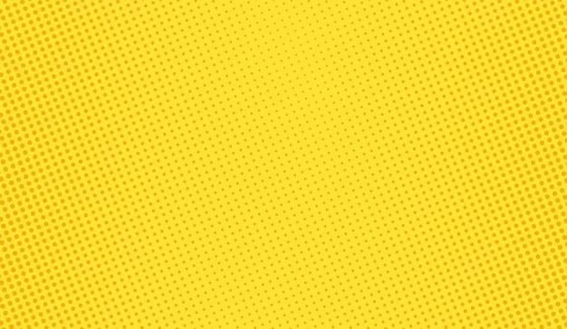 Popart achtergrond. halftoon komisch gestippeld patroon. gele afdruk. cartoon duotoon textuur