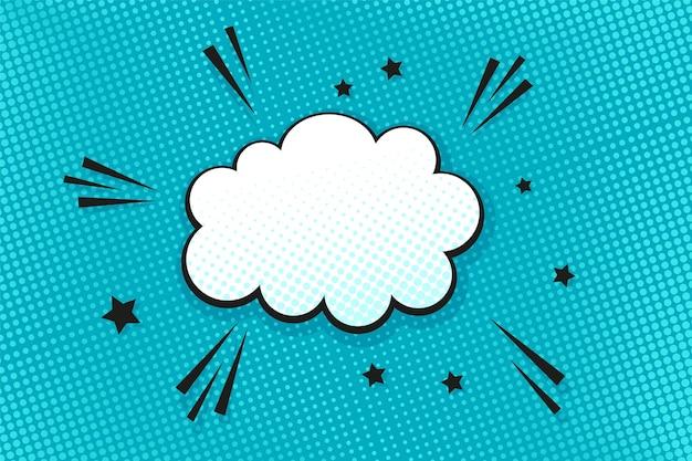 Popart achtergrond. halftoon komisch gestippeld patroon met tekstballon. blauwe afdruk. cartoon textuur