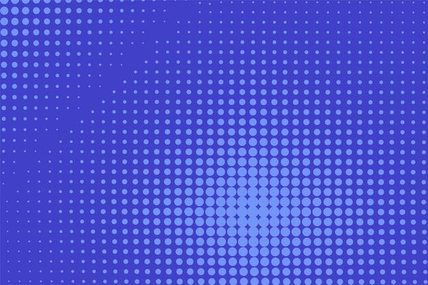 Popart achtergrond. komisch gestippeld patroon. blauwe print met halftooneffect. cartoon textuur