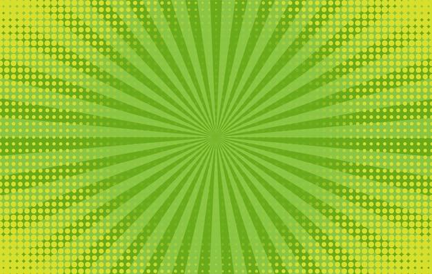 Popart achtergrond. komisch patroon met starburst en halftoon. groene banner met stippen en balken